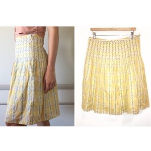 Free People Embroidered Pleated Yellow Skirt-8